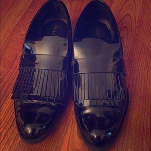 Zara Fringed Oxfords 👞 In Black Patent Leather